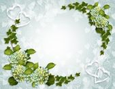Ivy and Hydrangea Floral Border — Stock Photo