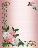 Róże różowy biały ślub zaproszenia — Zdjęcie stockowe