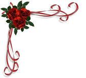 红玫瑰边框邀请 — 图库照片