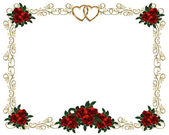 Red Roses Border invitation — Stock Photo