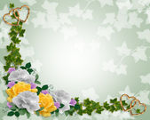 Floral Border invitation Ivy and roses — Stock Photo