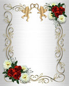 Red Roses Border on satin invitation — Stock Photo