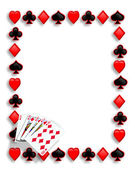 Playing Cards poker border royal flush — Stockfoto