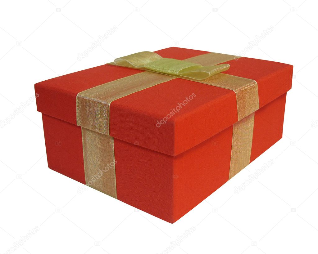 Red gift box isolated on white background — Stock Photo #2154039