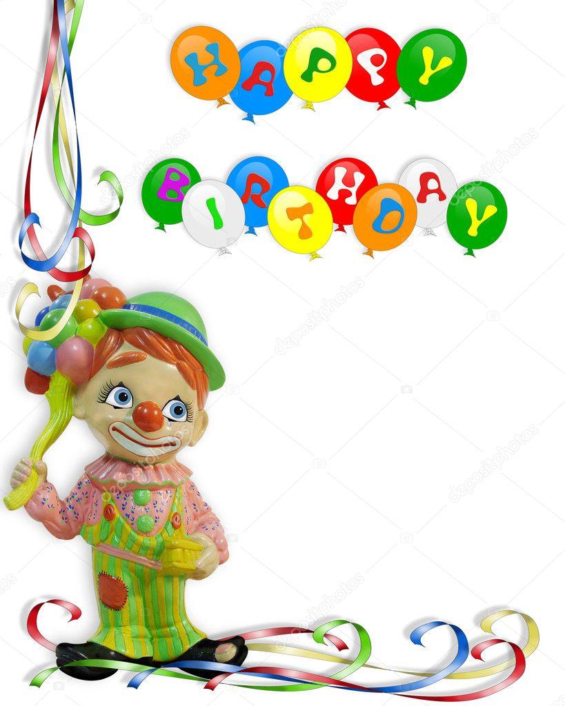 Happy Birthday Invitation Clown — Stock Photo © Irisangel #2155677