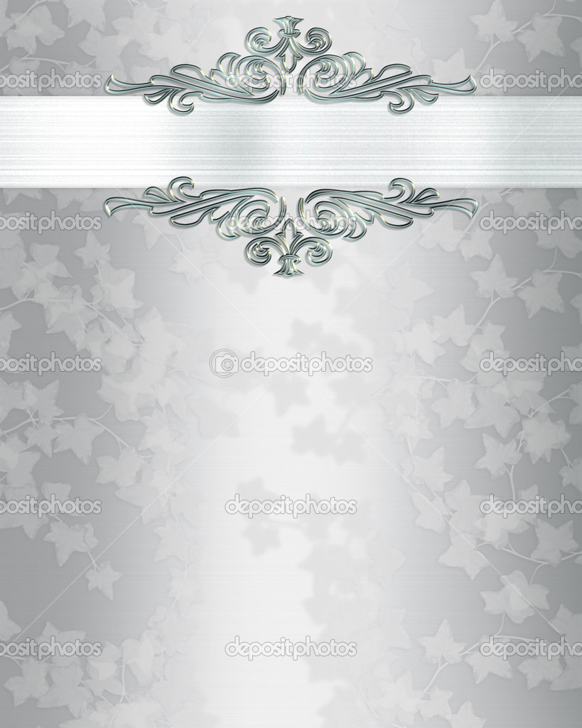 Ivy on elegant white satin  for background, border, frame, anniversary  party, wedding invitation or template with copy space.  Foto de Stock   #2155811