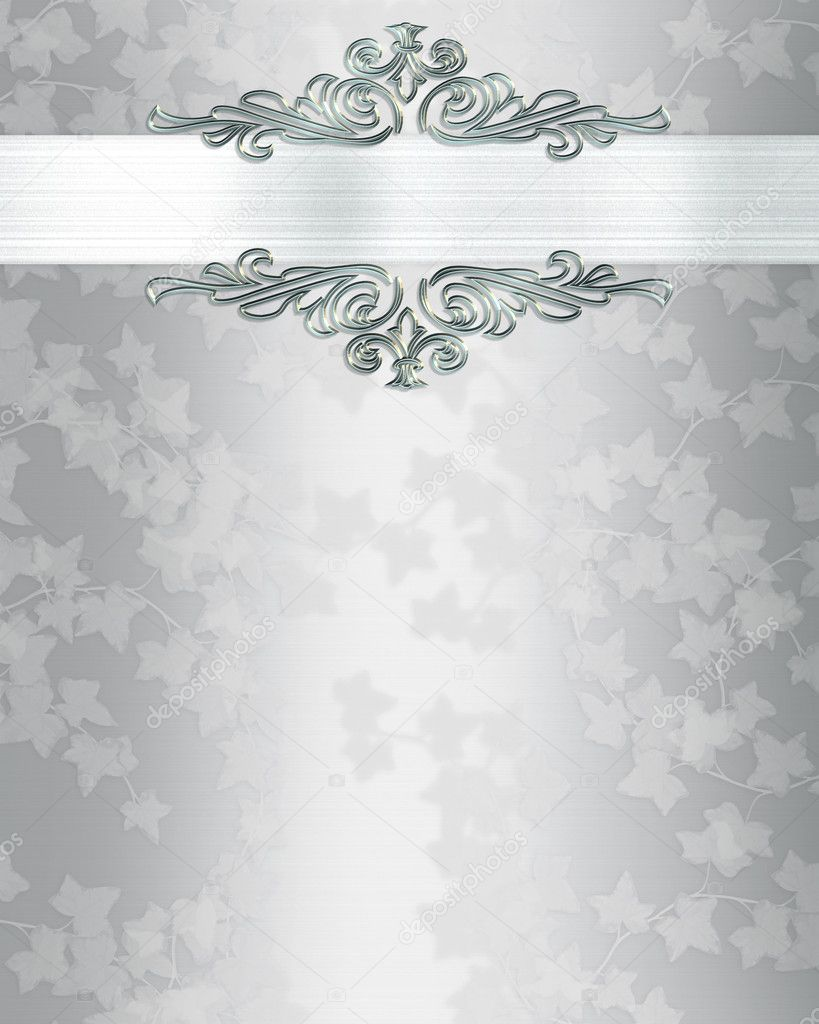Ivy on elegant white satin  for background, border, frame, anniversary  party, wedding invitation or template with copy space. — Stock Photo #2155811