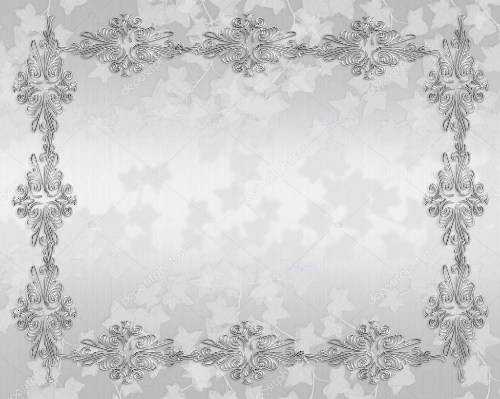优雅白色缎为婚礼,25 周年聚会邀请边框与副本空间上的银色设计口音—