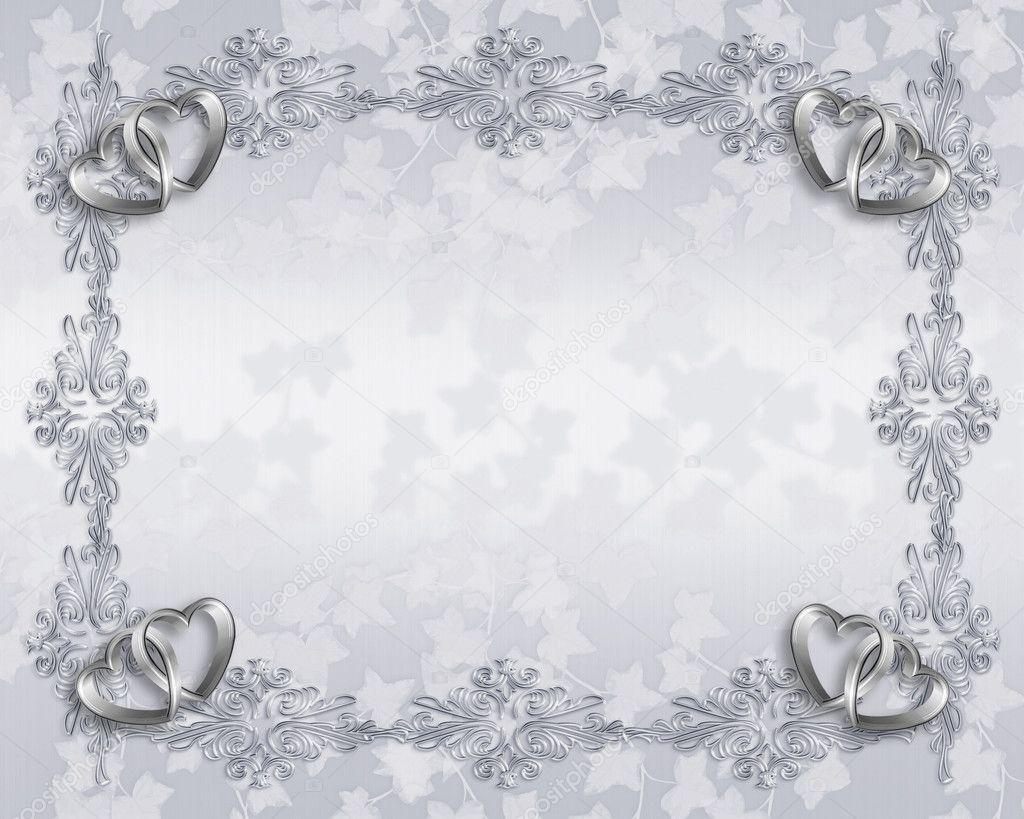 Silver hearts on elegant white satin for wedding, 25Th anniversary ...