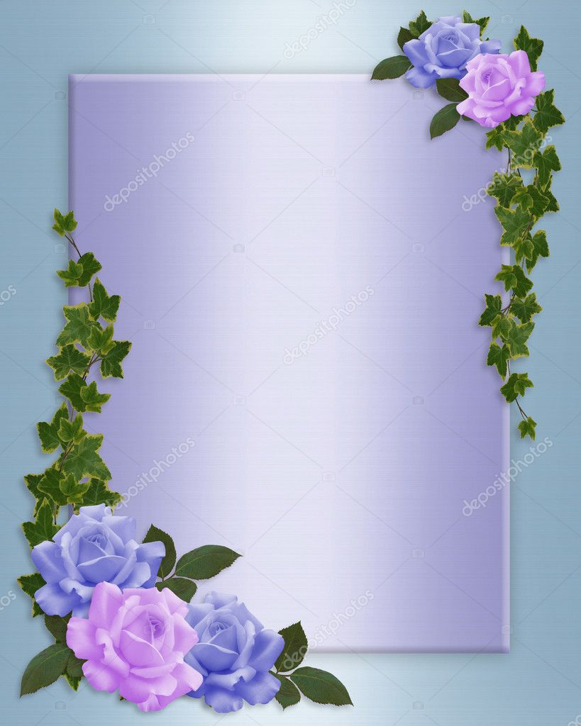 Blue, lavender roses for Valentine, birthday, wedding invitation, stationery, background, border or frame with ivy, copy space. — Stock Photo #2158595