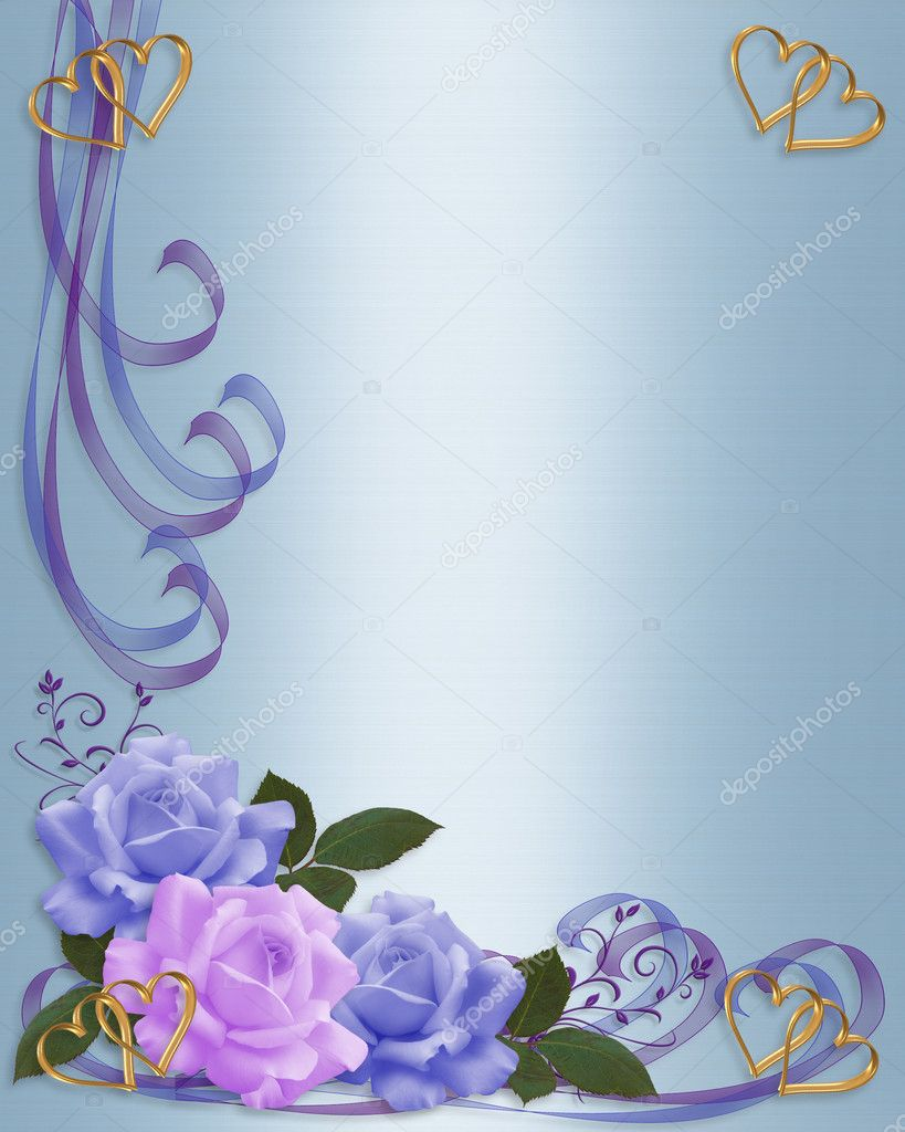 Wedding invitation roses Blue Lavender — Stock Photo © Irisangel ...