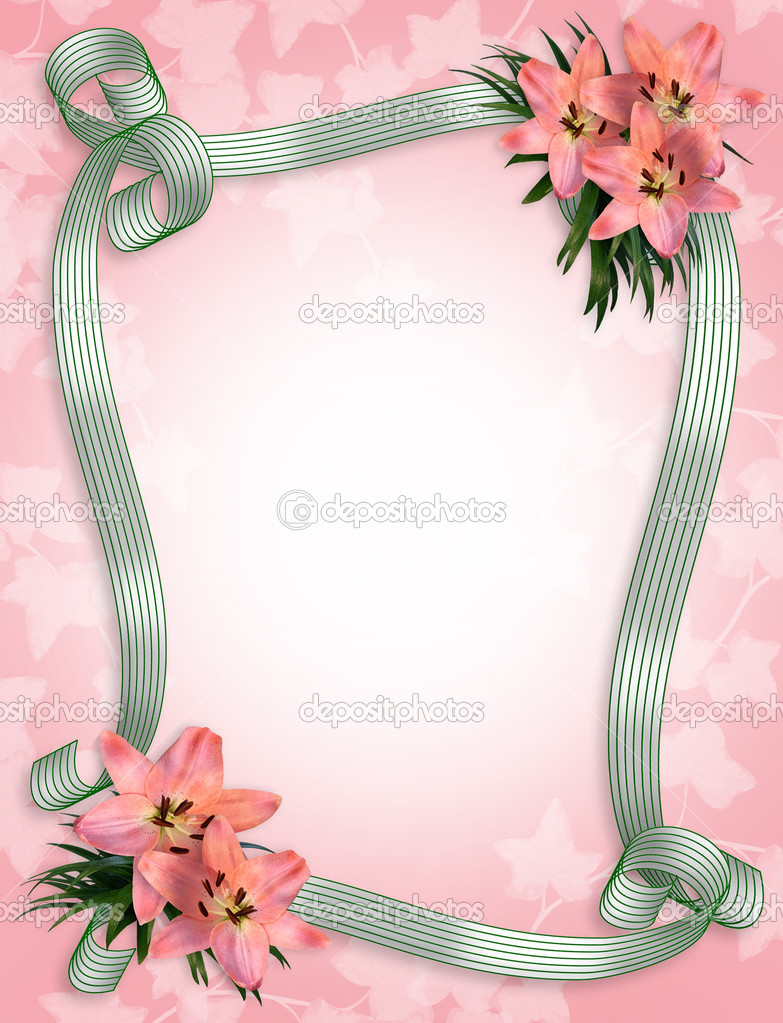 Pink lilies and ribbons border — Stock Photo © Irisangel #2158815