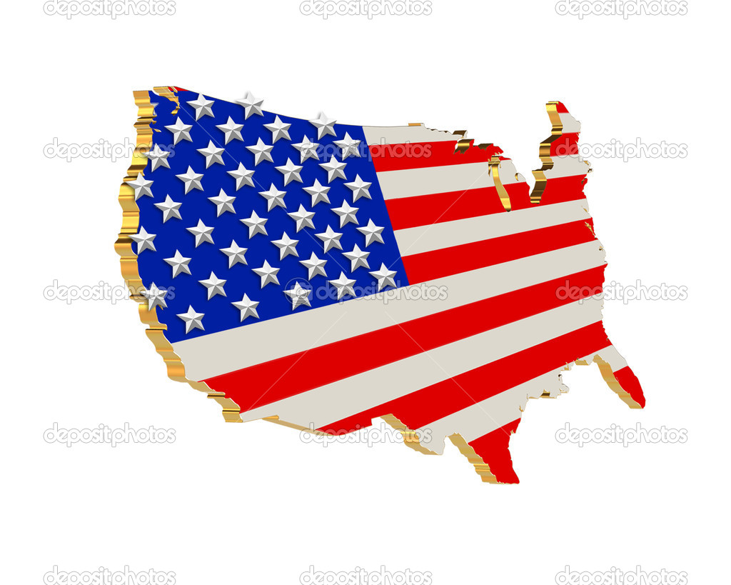 USA Patriotic Stars and stripes map 3D — Stock Photo ...