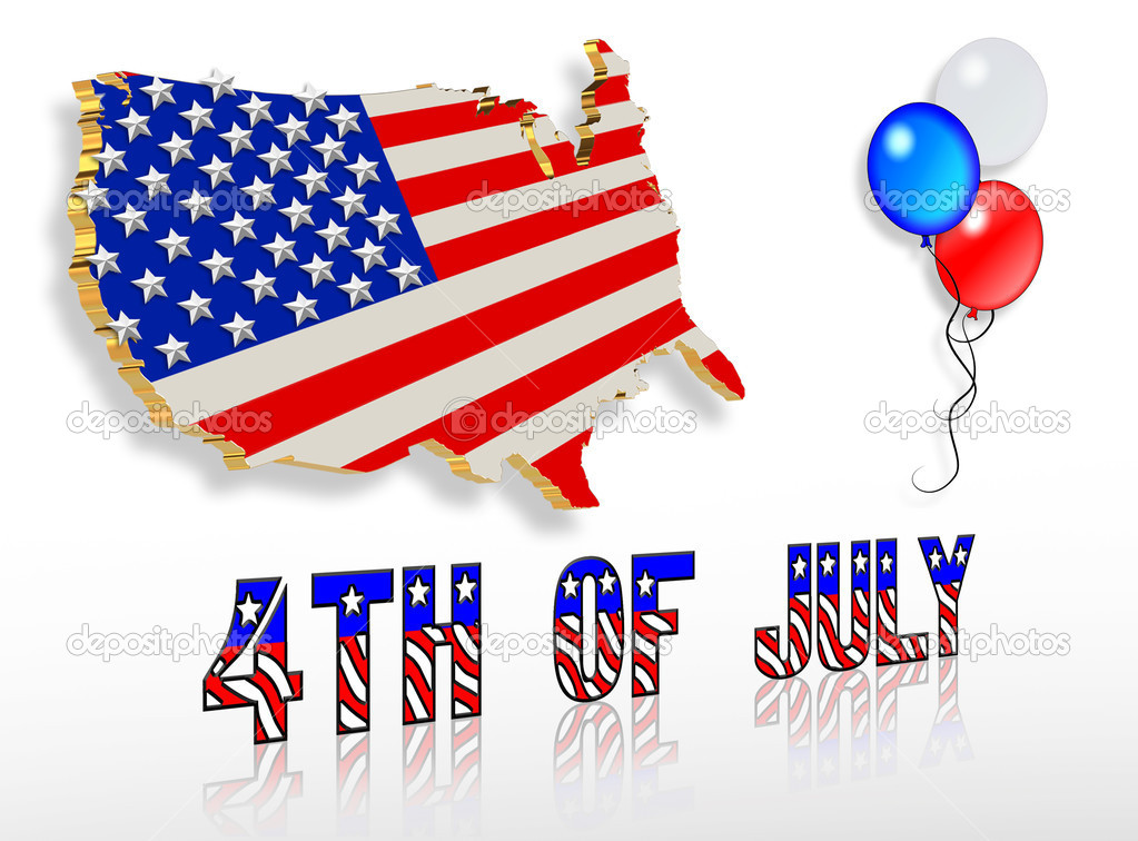 depositphotos 2159188 July 4th 3D Patriotic clip art designs American Flag as background for Clip Art Illustration for your design.