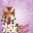 Easter Background Cross and Lilies — Stock Photo #2176760