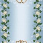 Wedding invitation Ivy, Peony border — Stock Photo