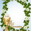 Stock Photo: First Communion Invitation blue