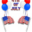 Stock Photo: July 4Th background flags balloons