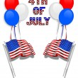 July 4Th background flags balloons — Stock Photo