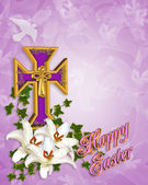 Easter Background Cross and Lilies — Stock Photo