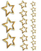 3D Gold stars borders 3 sizes — Stock Photo