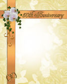 50Th Anniversary invitation orchids — Stock Photo
