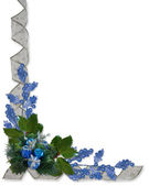 Christmas Holly and ribbons border blue — Zdjęcie stockowe