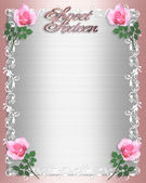 Sweet Sixteen Invitation Pink Satin — Stock Photo