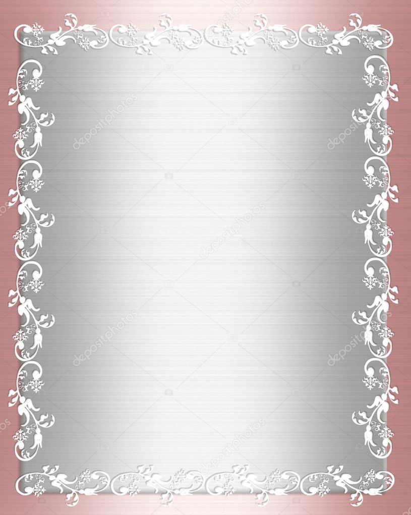 Pink and white satin ornamental border for wedding, party, birthday invitation background, frame with copy space,  — Stock Photo #2177134