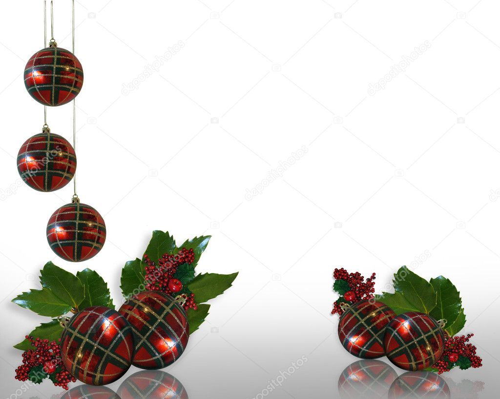 Holly christmas ornaments - Christmas Holly And Ornaments Border Stock Image