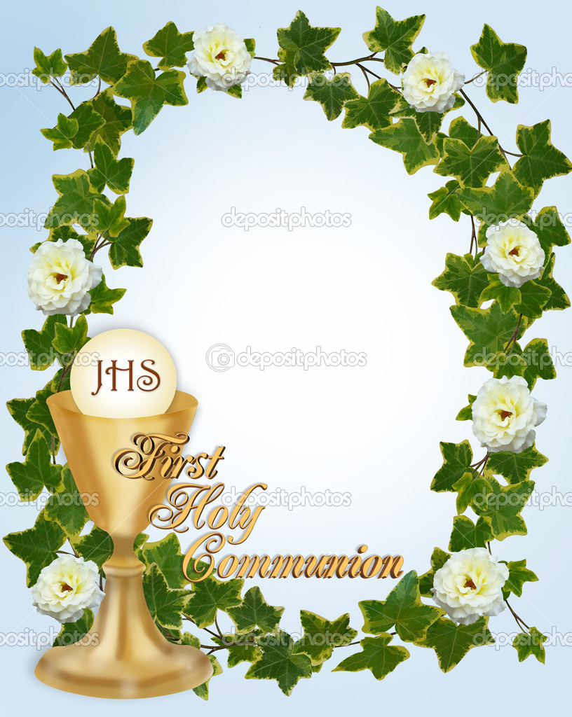 Image and illustration composition for First Holy Communion Invitation Border or frame for boy with gold text copy space — Photo #2178015