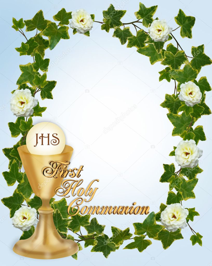Image and illustration composition for First Holy Communion Invitation Border or frame for boy with gold text copy space  Foto de Stock   #2178015