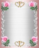Wedding Invitation Pink Satin roses — Stock Photo