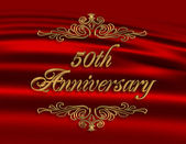 50Th wedding anniversary invitation red — Stock Photo