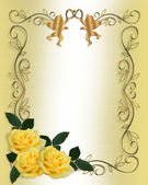 Wedding Invitation Yellow Roses Border — Stock Photo