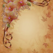Fall Autumn Orchids Floral Border — Stock Photo