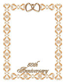 Wedding invitation border gold 50th — Stock Photo