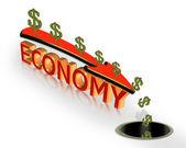 Ekonomik kriz recession 3d grafik — Stok fotoğraf
