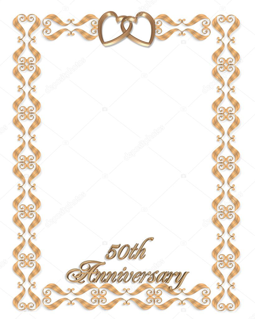 3D scroll accents Illustration for elegant formal 50th Wedding anniversary invitation, Frame, Valentine or Background with gold hearts, copy space — Stock Photo #2191631