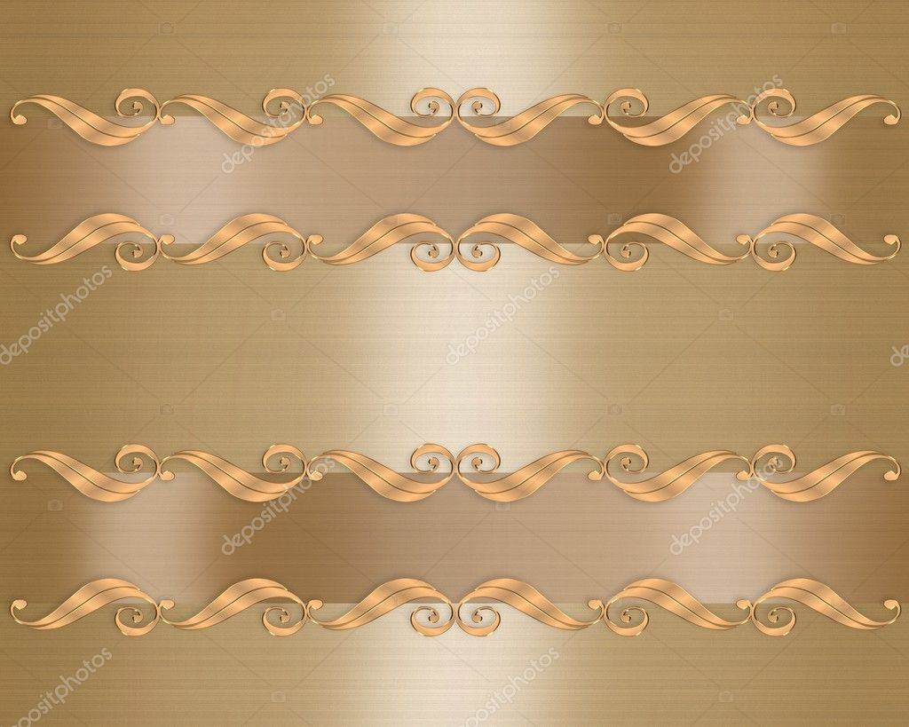3D scroll accents Illustration for elegant gold formal Wedding invitation Background with copy space — Stock Photo #2191803