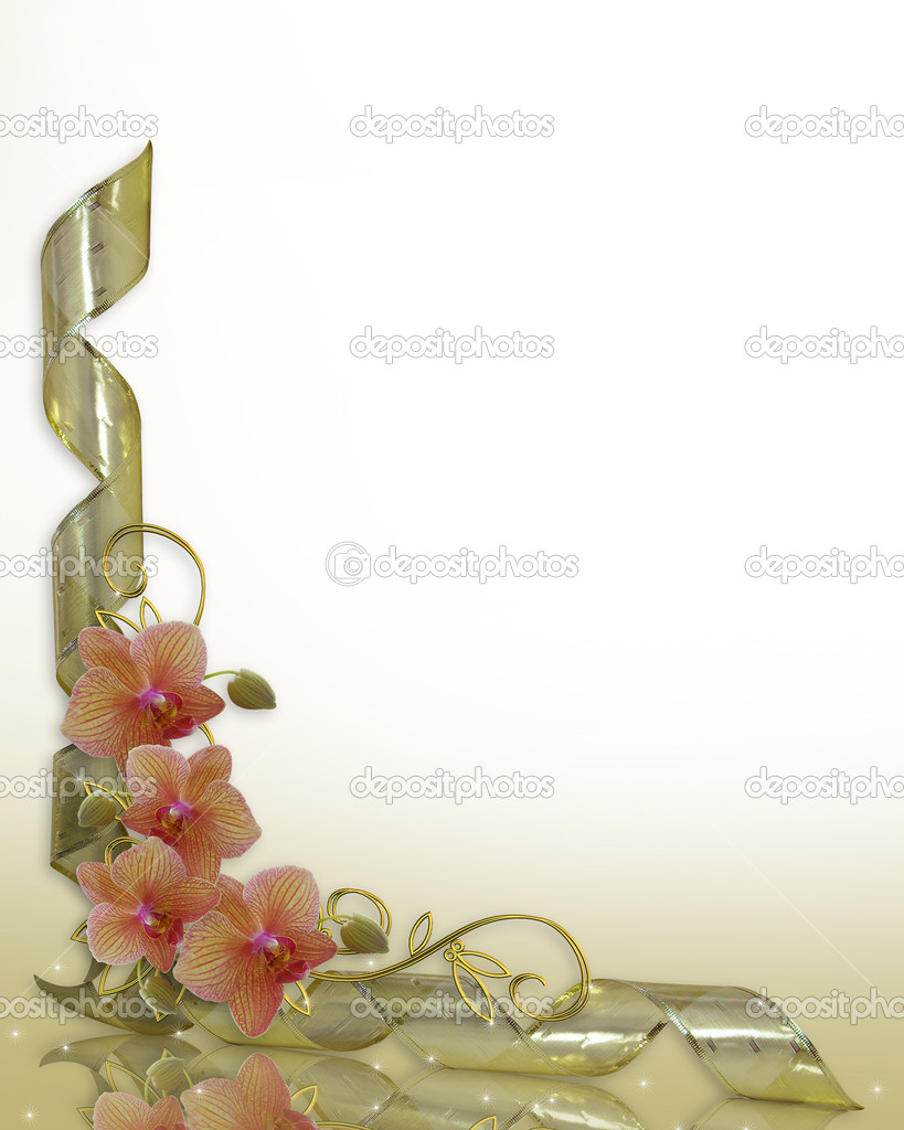 Orchids and gold ribbons image and illustration composition for background, border, frame, wedding invitation or template with copy space. — Stock Photo #2191856