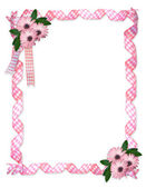 Pink ribbons daisy border — Stock Photo