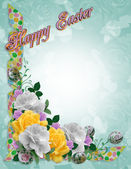 Easter Floral border roses ribbons — Stock Photo