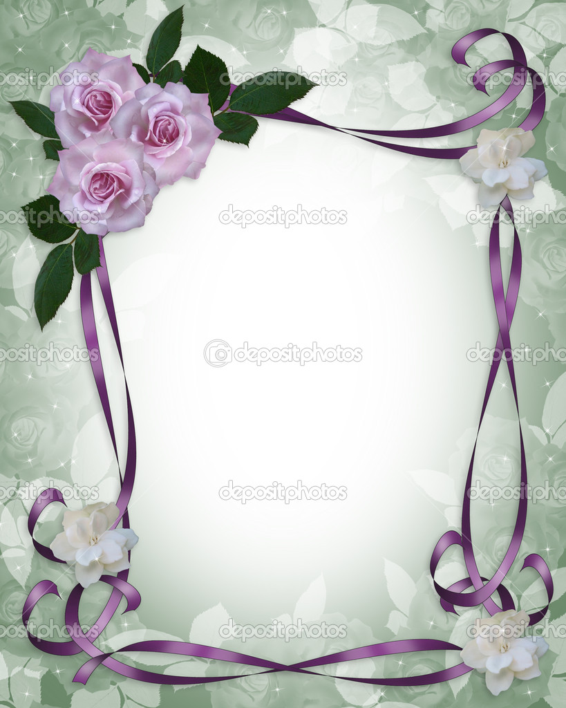 Image and illustration composition lavender roses Corner design element for Valentine or wedding invitation background, border or frame with copy space.  Stock Photo #2226476