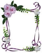 Rosas lavanda fronteira de convite de casamento — Foto Stock