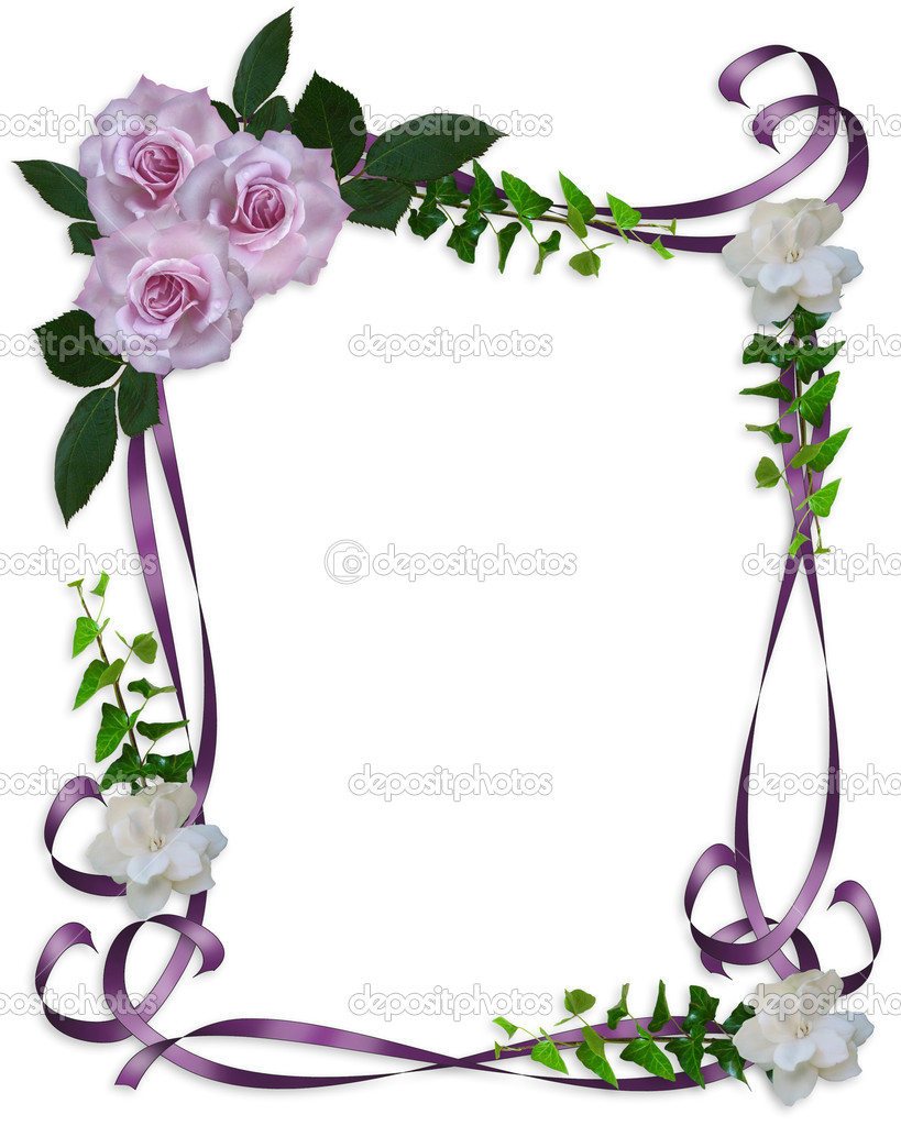 Image and illustration composition lavender roses Corner design element for Valentine or wedding invitation background, border or frame with copy space.  Stock Photo #2235766