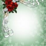 Wedding invitation Red Roses Border — Stock Photo