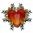 Guardian Angel Red Heart 3D Graphic — 图库照片