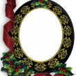 Christmas ribbons photo frame border — Stock Photo