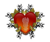 Guardian Angel Red Heart 3D Graphic — Stock Photo